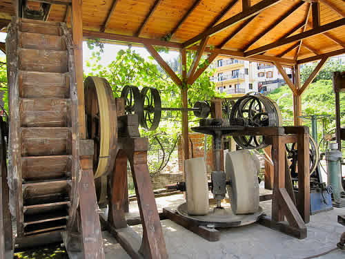 A traditional olive oil press  located in Panagia on the Greek Island of Thassos.